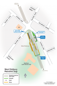 Map of West Didsbury Metrolink station
